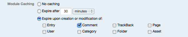 Module Caching Expiration Options - comment event