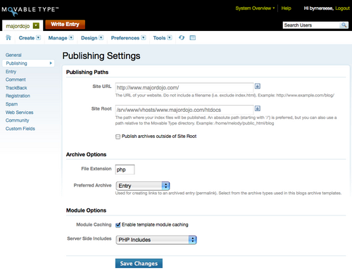 Publishing Settings Screen