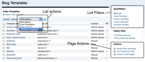 Page Actions, List Filters and Quicklinks