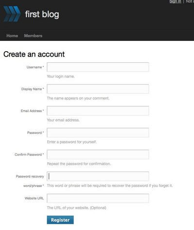 user creation form template - documentation creating a new account