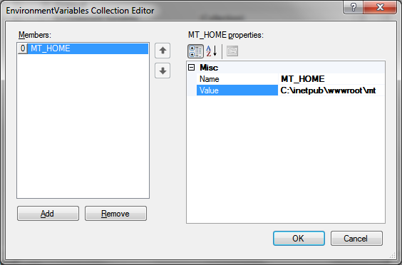 FastCGI and IIS: 2 – EnvironmentVariables Collection Editor