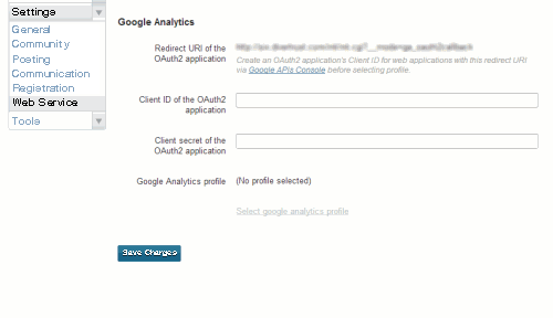 Linking to Google Analytics: 01 - Settings: Web Services