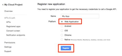 Linking to Google Analytics: 05 - Register New Application