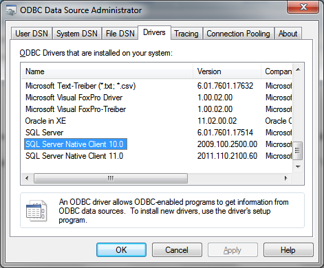 Odbc sql server 2005 drivers for mac download.