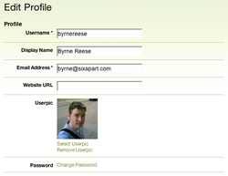 Edit Profile (administrative view)