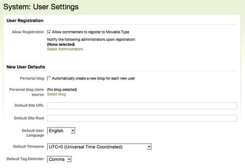 New User Blog Provisioning Screenshot
